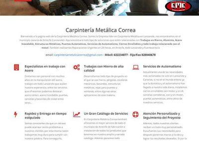 web de carpintería Metálica Correa - Desarrollada por proyecto Digital en Lanzarote